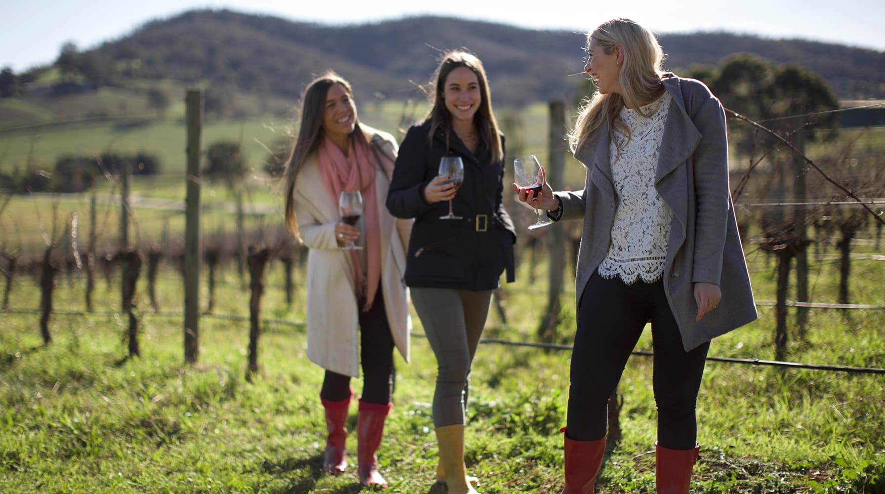 Group of women doing a vineyard tour at De Bortoli Wines Yarra Valley Estate